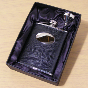 Black Leather Hip Flask with Funnel Personalised Engraved Gift